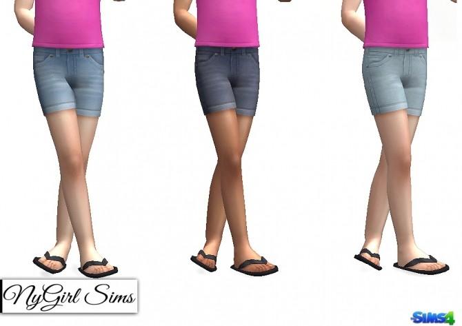 Sims 4 Basic Rolled Denim Shorts at NyGirl Sims