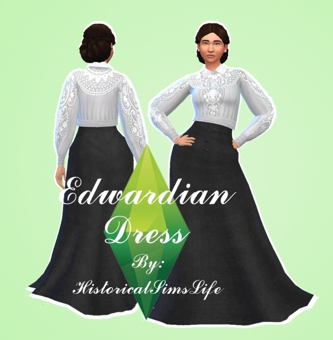 Edwardian Dress by Anni K at Historical Sims Life image 13114 670x683 Sims 4 Updates