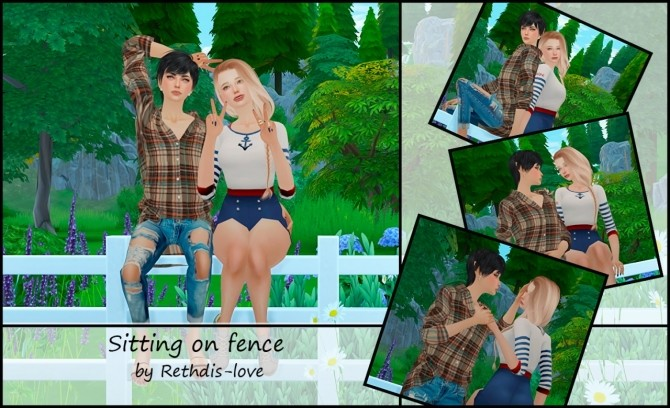 Sitting on fence poses at Rethdis-love » Sims 4 Updates