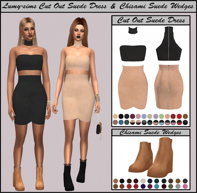 Cut Out Suede Dress Amp Suede Wedges At Lumy Sims 187 Sims 4