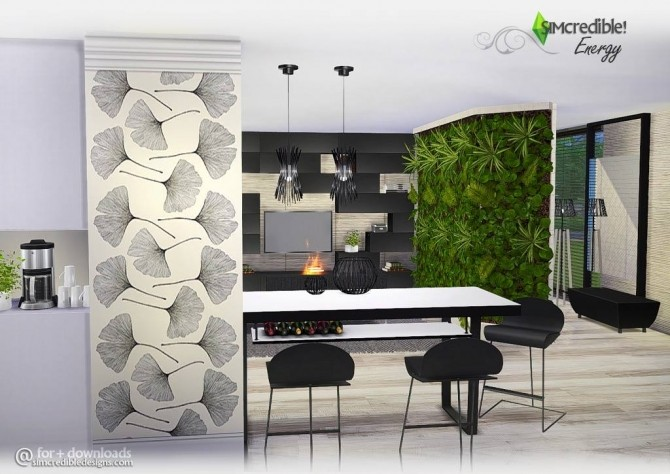 Energy versatile modern livingroom at simcredible for Modern living room sims 4