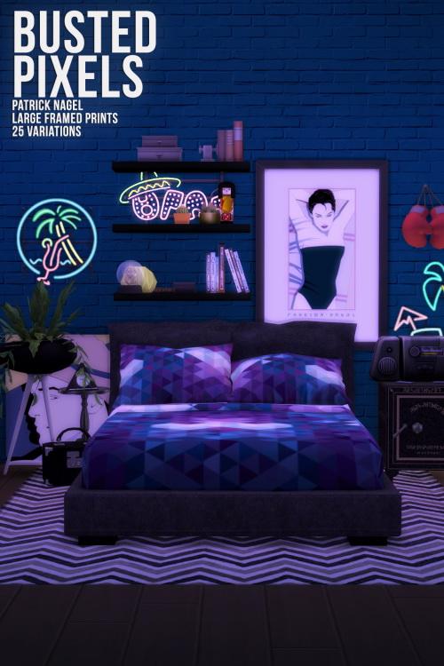 Patrick Nagel Large Framed Prints at Busted Pixels image 1356 Sims 4 Updates