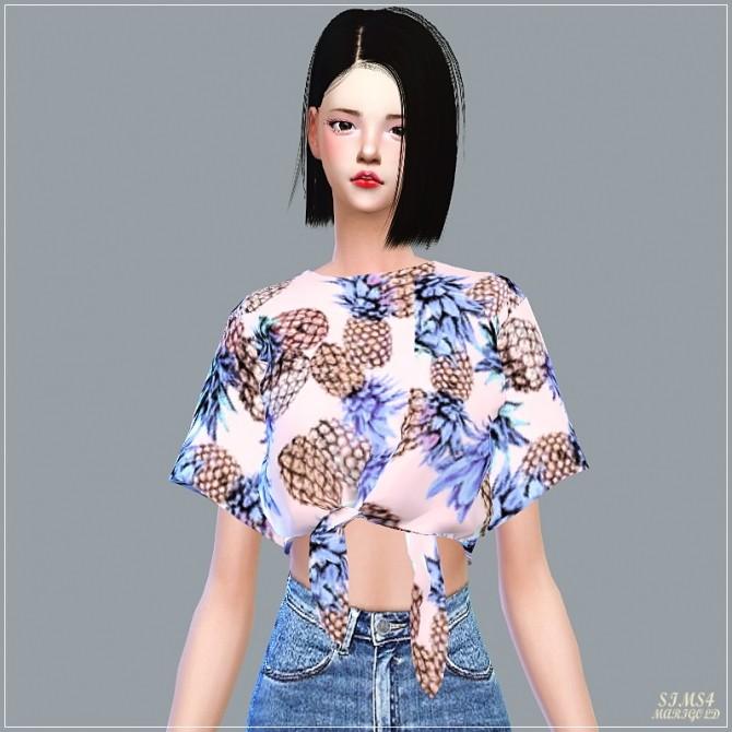 Sims 4 Tied Short Sleeves Crop Top at Marigold