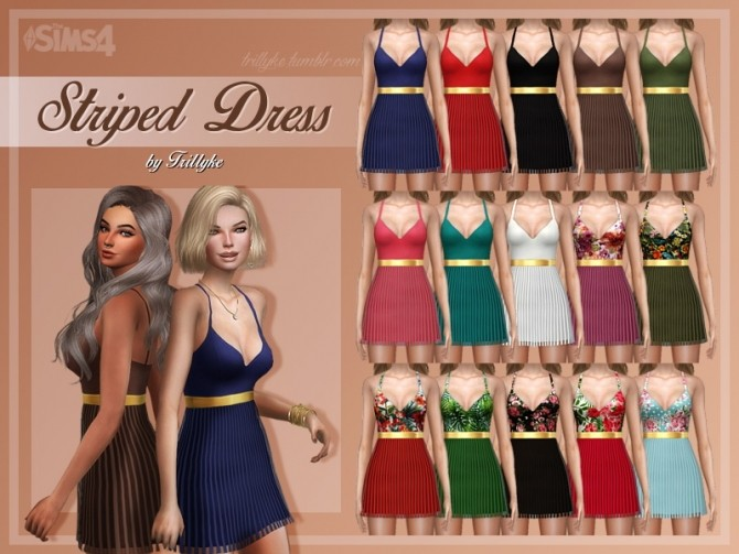 Sims 4 Striped Dress at Trillyke
