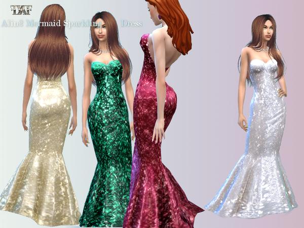Sims 4 Glittery Mermaid Dress by alin2 at TSR