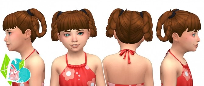Sims 4 Lovey Dovey Looped Braids Summer Pigtails Collection (Part 06) at SimLaughLove