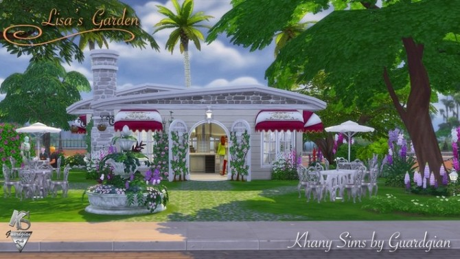Sims 4 Lisas garden coffee shop by Guardgian at Khany Sims
