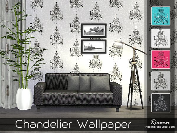 Chandelier Wallpaper by Rirann at TSR image 1720 Sims 4 Updates