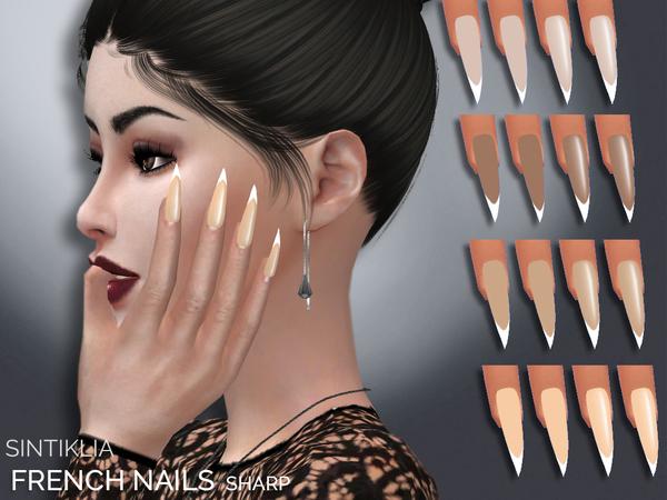 Sims 4 French sharp nails by Sintiklia at TSR