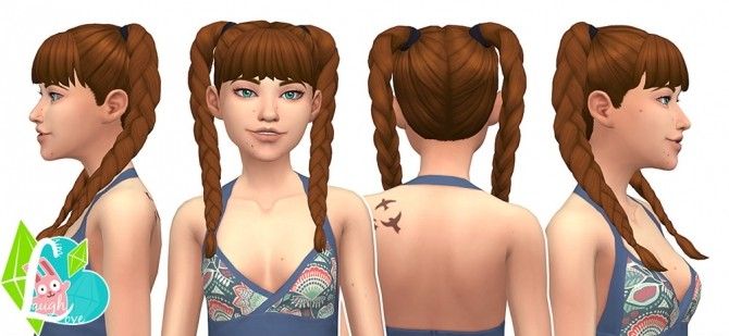 Sims 4 Playful Braids Summer Pigtails Collection (Part 02) at SimLaughLove