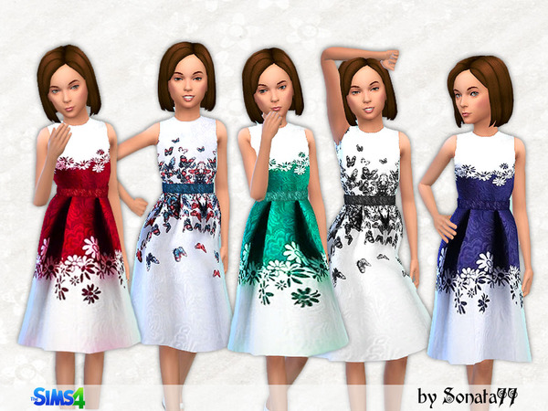 Sims 4 S77 girl 09 long dresses for girls by Sonata77 at TSR