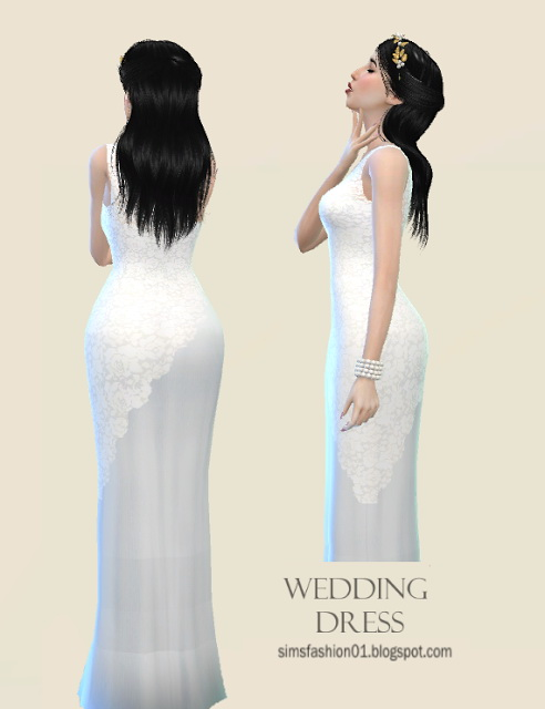 Sims 4 Wedding Dress With White Lace at Sims Fashion01