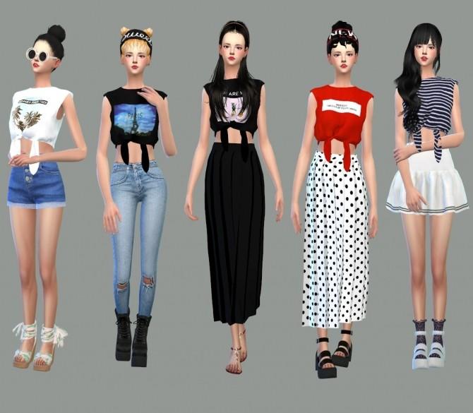 Sims 4 Tied Sleeveless Crop Top at Marigold