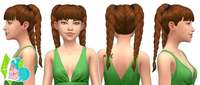 Sims 4 Flirty Braids Summer Pigtails Collection (Part 04) at SimLaughLove