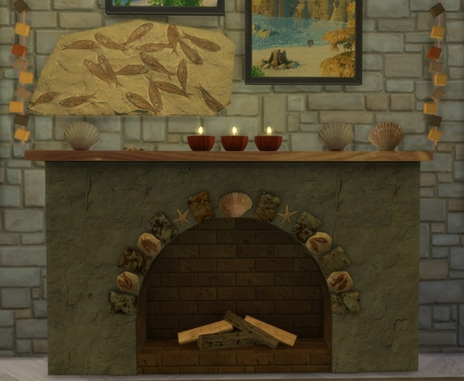 Summer Collectors fireplace, shells & candles, fossil fish at Sims 4 Studio image 219 670x550 Sims 4 Updates
