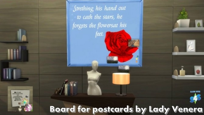 Sims 4 Board for postcards at Lady Venera