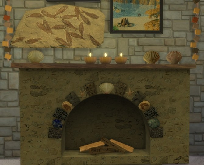 Summer Collectors fireplace, shells & candles, fossil fish at Sims 4 Studio image 220 670x541 Sims 4 Updates