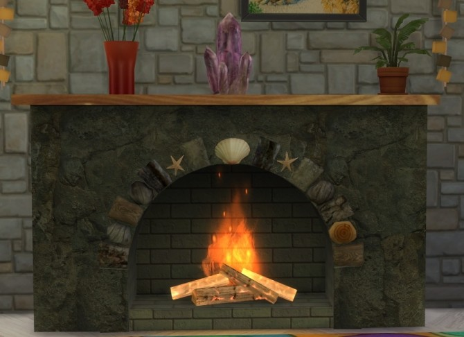 Summer Collectors fireplace, shells & candles, fossil fish at Sims 4 Studio image 221 670x486 Sims 4 Updates