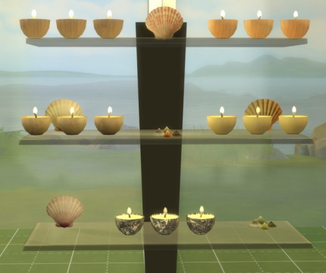 Summer Collectors fireplace, shells & candles, fossil fish at Sims 4 Studio image 224 670x561 Sims 4 Updates