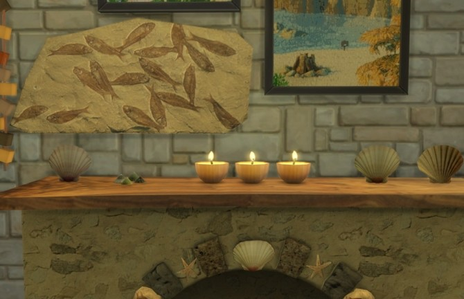 Summer Collectors fireplace, shells & candles, fossil fish at Sims 4 Studio image 225 670x432 Sims 4 Updates