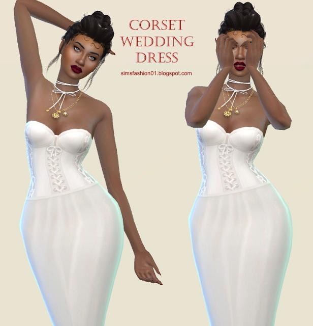Sims 4 Corset Wedding Dress at Sims Fashion01