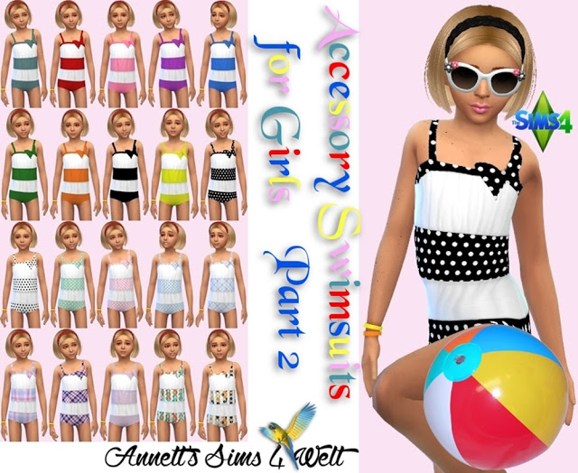 Sims 4 Accessory Swimsuits for Girls Part 2 at Annett's Sims 4 Welt