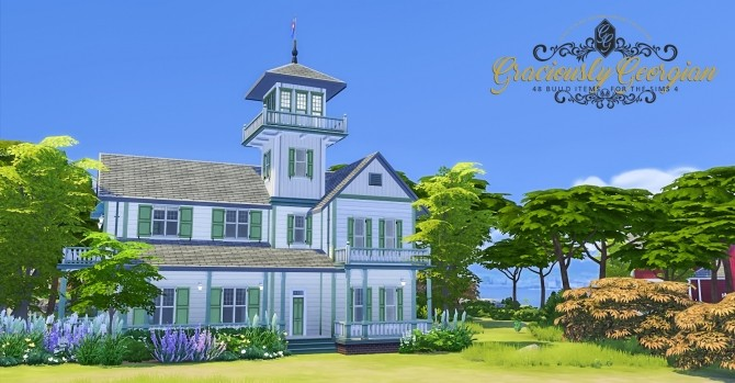Sims 4 Graciously Georgian Build Set at Simsational Designs