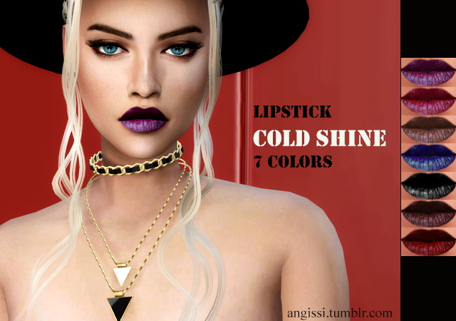 Sims 4 Cold shine lipstick at Angissi
