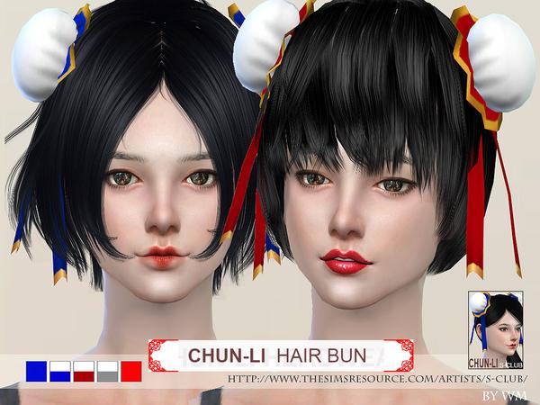 Chunli hair bun by S Club WM at TSR image 2715 Sims 4 Updates