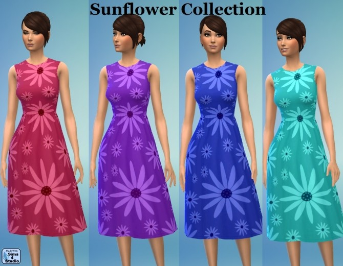 Sims 4 GP03 FullBody Female SunFlowers SET by wendy35pearly at Mod The Sims