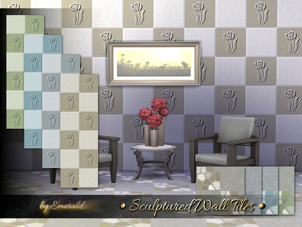 Sculptured Wall Tiles by emerald at TSR image 2812 Sims 4 Updates