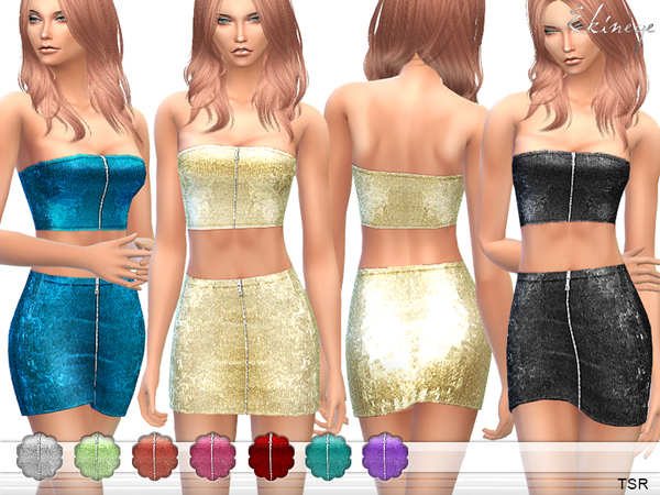 Sims 4 Sequin Top & Skirt Set 15 by ekinege at TSR