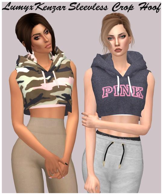 Sims 4 Sleeveless Crop Hood at Lumy Sims