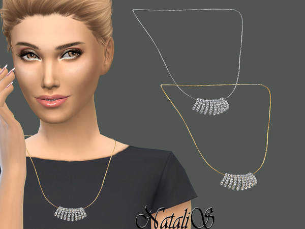 Sims 4 Crystal Pave Fern Necklace by NataliS at TSR