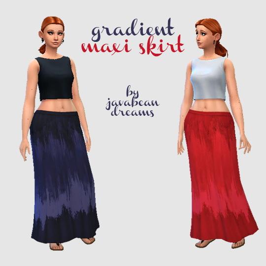 Sims 4 Gradient Maxi Skirt at Hamburger Cakes