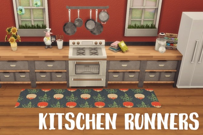 Sims 4 Kitchen Runners patterned rugs at Hamburger Cakes