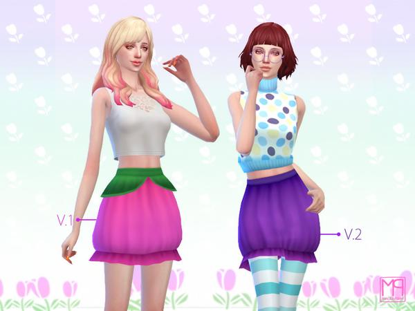 Sims 4 ManueaPinny tulip garden skirts set by nueajaa at TSR