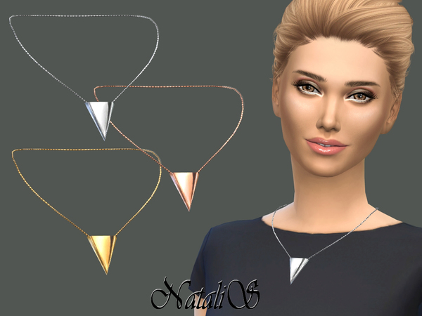 Sims 4 Inverted Triangle Necklace by NataliS at TSR