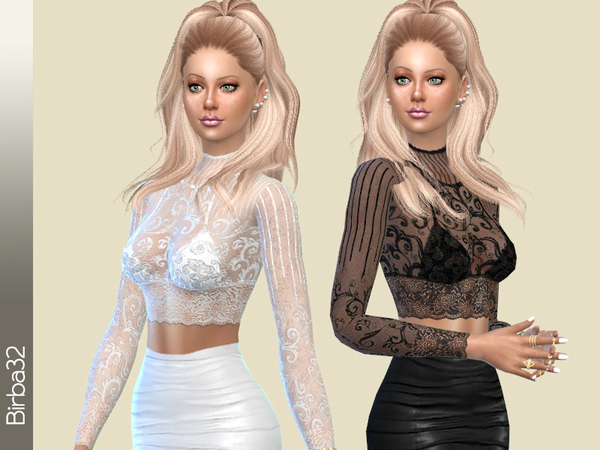Sims 4 Modern Lace Top by Birba32 at TSR