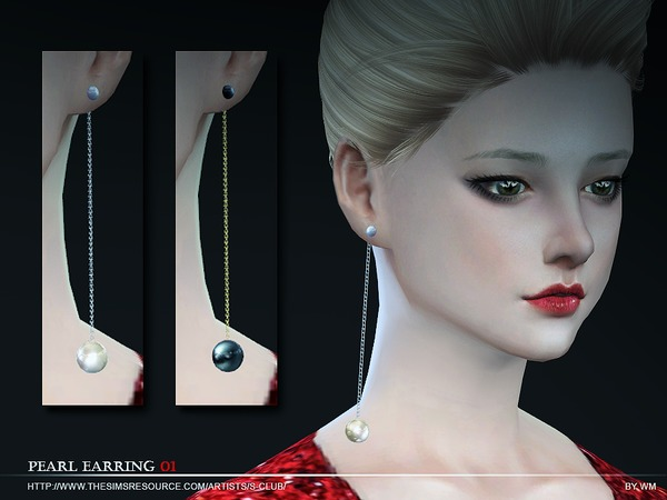 Sims 4 Pearl earring N01 by S Club WM at TSR