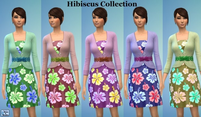 Sims 4 GP03 Female Dress Sweater Hibiscus Flower by wendy35pearly at Mod The Sims
