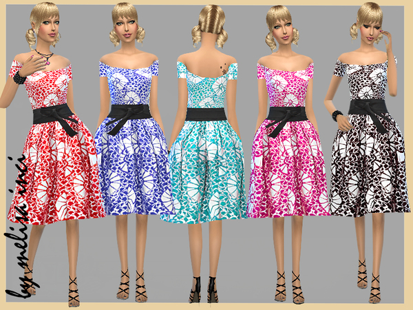Off The Shoulder Floral Dress by melisa inci at TSR image 371 Sims 4 Updates