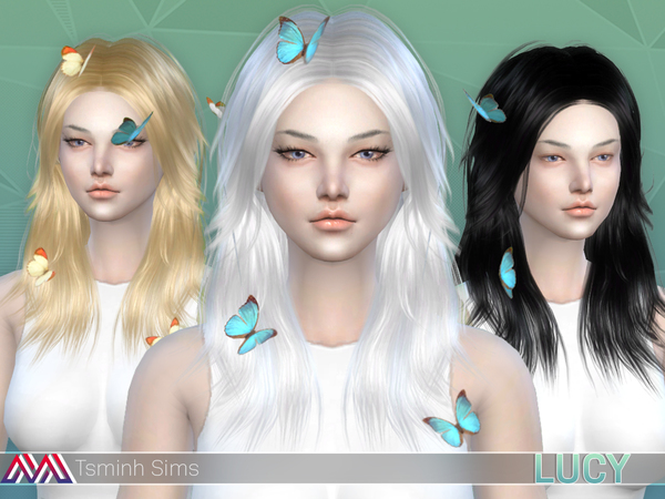 Lucy Hair 32 colors and acc. butterfly 7 textures by TsminhSims at TSR image 3912 Sims 4 Updates