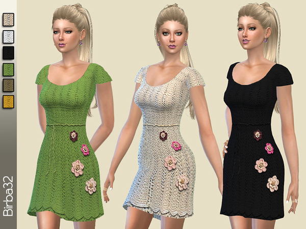 Crochet flowes dress by Birba32 at TSR image 3920 Sims 4 Updates