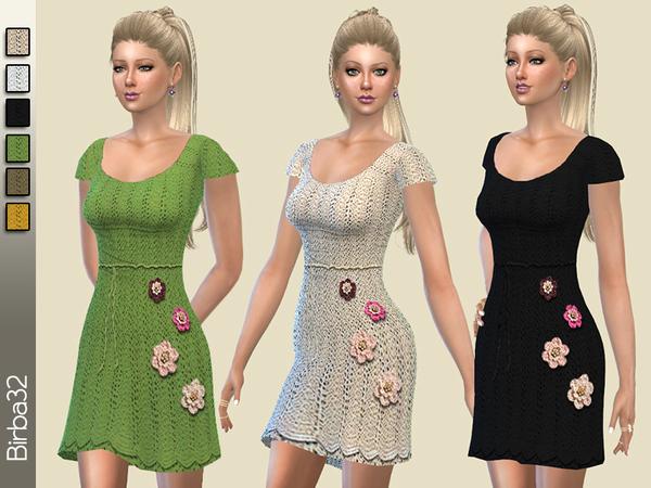 Sims 4 Crochet flowes dress by Birba32 at TSR
