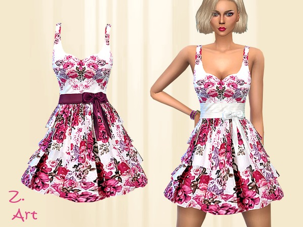 Pink Roses dress by Zuckerschnute20 at TSR image 395 Sims 4 Updates