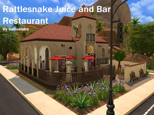 Sims 4 Rattlesnake Juice and Bar Restaurant by Galloandre at TSR