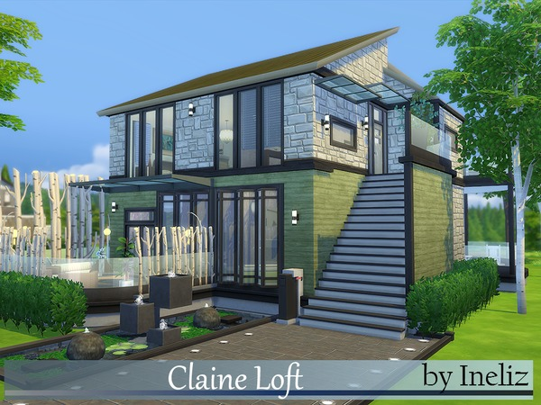 Claine loft by ineliz at tsr sims 4 updates for Sims 4 modern house plans