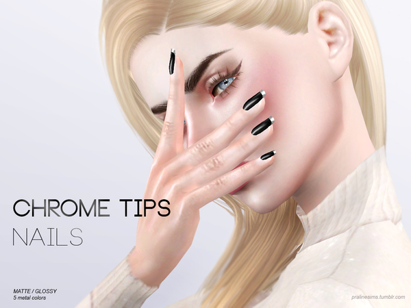 Chrome Tips Nails N15 by Pralinesims at TSR image 412 Sims 4 Updates