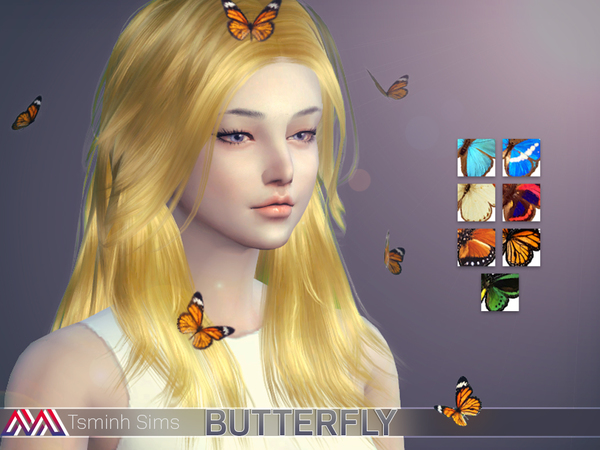 Lucy Hair 32 colors and acc. butterfly 7 textures by TsminhSims at TSR image 428 Sims 4 Updates